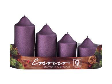 Svíčky adventní stupňovité 4ks, pr. 5cm, mat. švestkové(9888)