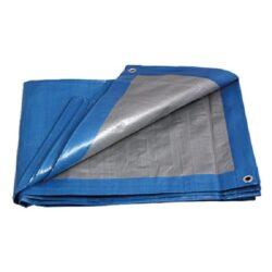 PE plachta zakrývací PROFI 4x5m 140g/1m2 modro-stříbrná-Plachta krycí PROFI 4x5m s oky