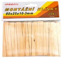 Klínky montážní dřev.80x25x10-3,20k-Dřevěné montážní klínky 80x25x10