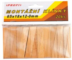 Klínky montážní dřev.65x18x12-0,20k-Dřevěné montážní klínky 65x18x12
