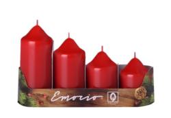 Svíčky adventní stupňovité 4ks, pr. 5cm, červené-Adventní svíčky stupňovité 4ks, pr. 5cm, červené