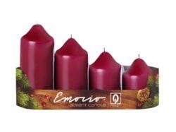 Svíčky adventní stupňovité 4ks, pr. 5cm, bordó-Adventní svíčky stupňovité 4ks, pr. 5cm, bordó