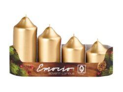 Svíčky adventní stupňovité 4ks, pr. 5cm, zlaté-Adventní svíčky stupňovité 4ks, pr. 5cm, zlaté