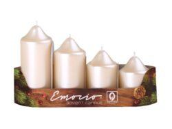 Svíčky stupňovité 4ks, pr. 5cm,  krémově perlové-Adventní svíčky stupňovité 4ks, pr. 5cm, perlové