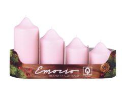 Svíčky adventní stupňovité 4ks, pr. 5cm, růžové-Adventní svíčky stupňovité 4ks, pr. 5cm, růžové