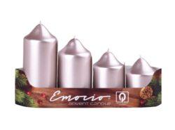 Svíčky adventní stupňovité, 5cm, starorůžová, 4ks-Adventní svíčky stupňovité, 4ks, pr. 5cm, starorůžová