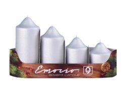 Svíčky adventní stupňovité 4ks, pr. 5cm, mat. stříbrné-Adventní svíčky stupňovité 4ks, pr. 5cm, mat. stříbrné