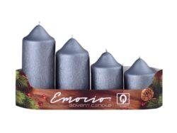 Svíčky adventní stup. , 5cm, mat. grafitové-Adventní svíčky stupňovité pr. 5cm, mat. grafitové