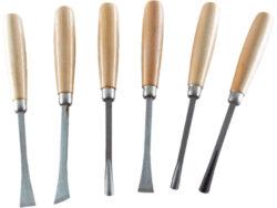 Dláta řezbářská 6ks,dřevěná rukojeť