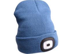 Čepice s čelovkou a s USB, modrá-Čepice s čelovkou nabíjecí s USB, modrá