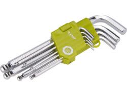 Sada L-klíčů imbus  9 ks, L 1,5-10mm, Extol-L-klíče imbus, sada 9ks, s kuličkou, L 1,5-10mm