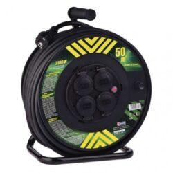Gumový prodl. kabel na bubnu - 4 zásuvky 50m 2,5mm-Cívka prodlužovací kabel 50m, 4z, 2,5mm