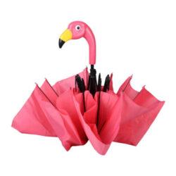 Deštník Plameňák, skládací, růžový-Deštník Plameňák, skládací