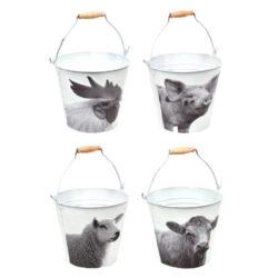 Kyblík B+W Farmářská zvířátka, v. 19,9 cm, bílá                                 -Kyblík B+W Farmářská zvířátka, v. 19,9 cm